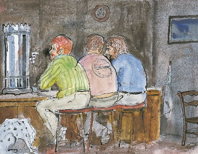 Harm Kamerlingh Onnes | Men in a pub, Indian ink and watercolour on paper, 23.5 x 31.0 cm, signed l.r. with monogram and dated '80