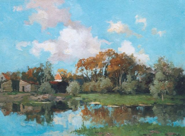 Adriaan Miolée | A farmhouse along a stream, oil on painter's board, 32.1 x 43.9 cm, signed l.r.