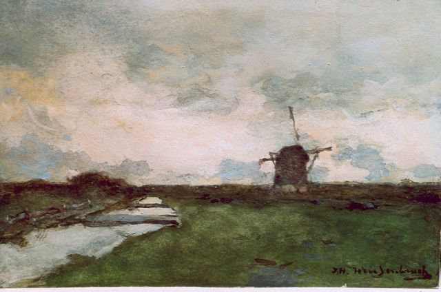 Jan Hendrik Weissenbruch | A polder landscape, watercolour on paper, 14.9 x 23.0 cm, signed l.r.
