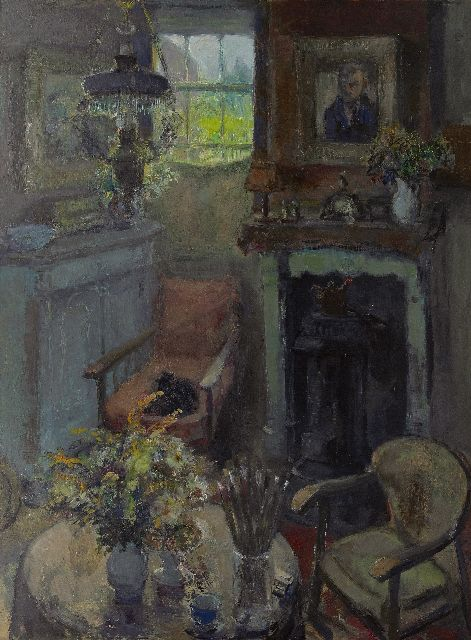 Noltee B.C.  | Corner of the room in Noltee's house, oil on board 98.0 x 74.8 cm, signed l.r.