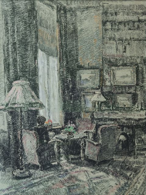 Noltee B.C.  | Corner near the window; living room of the artist, chalk on paper 65.0 x 50.0 cm, signed l.r.