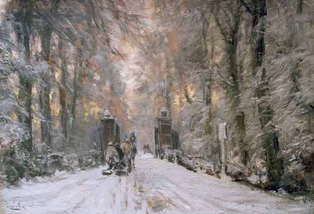 Louis Apol | A winter lane, Haagse Bos, oil on canvas, 42.5 x 61.0 cm, signed l.l.
