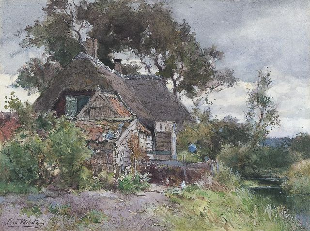Chris van der Windt | A farm, Reeuwijk, watercolour on paper, 29.9 x 40.0 cm, signed l.l. and dated July 1929 on the reverse