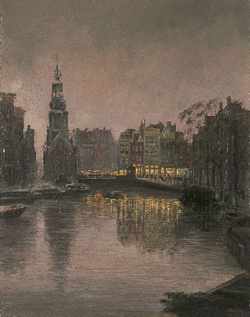 Jan Hermanus Melcher Tilmes | View of the Muntplein, Amsterdam, oil on canvas, 56.3 x 44.5 cm, signed l.r.