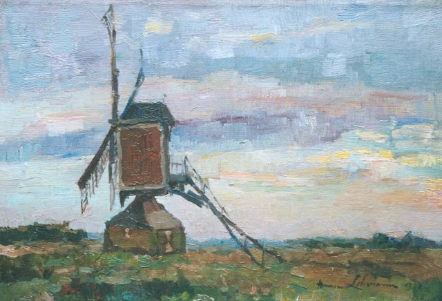 Anna Lehmann | A windmill in a landscape by dusk, oil on canvas, 23.5 x 34.3 cm, signed l.r. and dated 1917