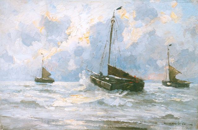 German Grobe | 'Bomschuiten' setting out for sea, Katwijk, oil on panel, 31.9 x 48.0 cm, signed l.r. and dated 1897