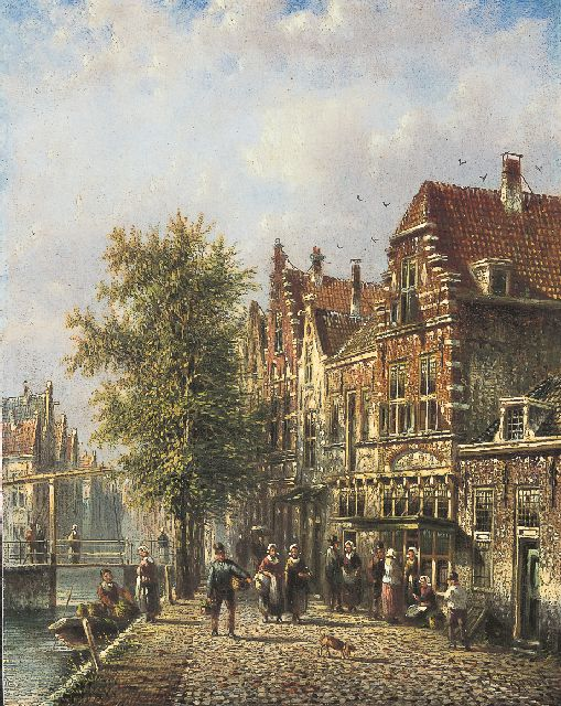 Johannes Franciscus Spohler | A canal in a Dutch town, oil on panel, 20.5 x 15.9 cm, signed l.r.