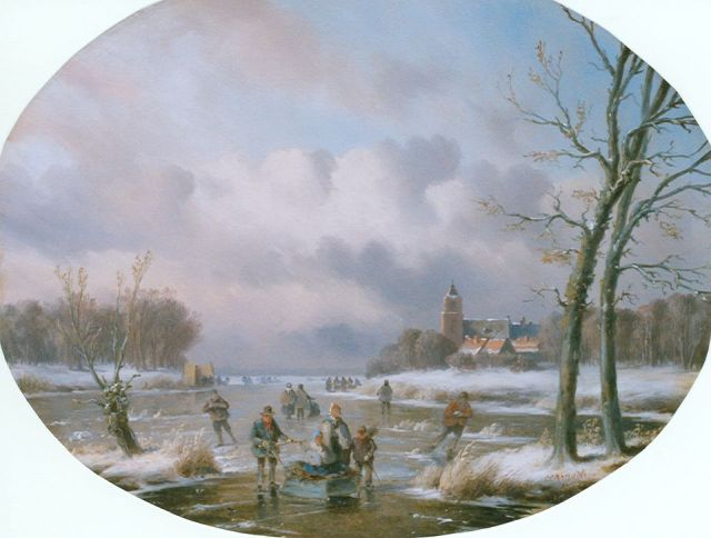 Carl Eduard Ahrendts | Skaters on the ice in winter, oil on panel, 31.0 x 39.7 cm, signed l.r.