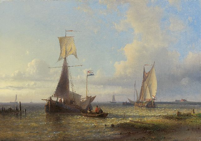 Abraham Hulk | Shipping in a calm, oil on canvas, 37.3 x 54.3 cm, signed l.r.