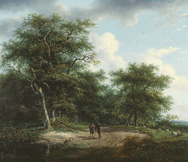 Andreas Schelfhout | Figures in a summer landscape, oil on panel, 33.9 x 40.0 cm, signed l.l. and painted between 1812-1815