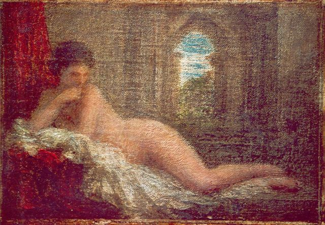 Henri Fantin-Latour | Odalisque, oil on canvas laid down on panel, 11.5 x 16.2 cm, signed l.r. and painted in 1904