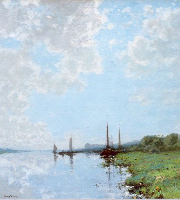 Cornelis Kuijpers | Moored boats, oil on canvas, 91.5 x 83.5 cm, signed l.l.