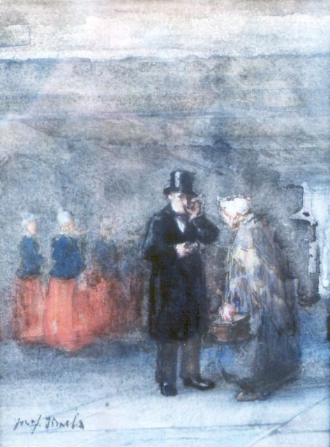 Jozef Israëls | The benefactor, chalk and watercolour on paper, 27.8 x 20.6 cm, signed l.l.