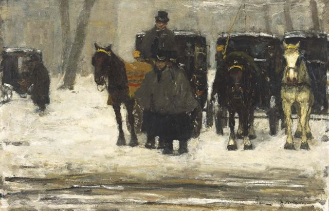Floris Arntzenius | Coaches in the snow, oil on panel, 38.7 x 59.4 cm, signed l.r. and painted circa 1895