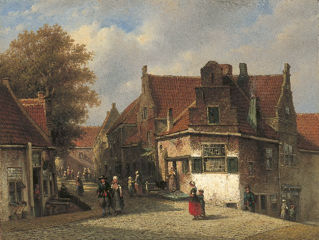 Petrus Gerardus Vertin | A sunlit street with a woman from Marken in a regional costume, oil on panel, 31.2 x 41.2 cm, signed l.l. and dated '51