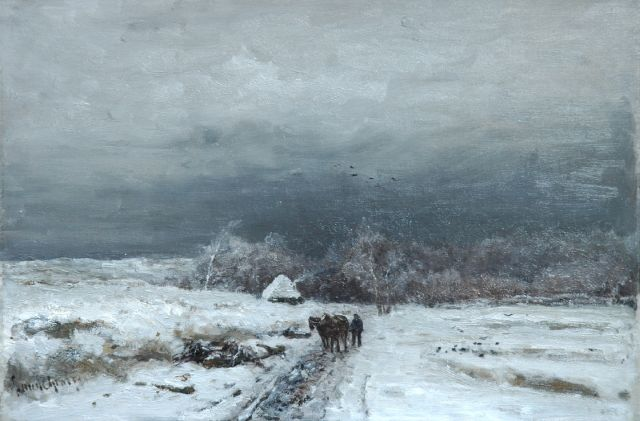 Louis Apol | A traveller in a snow-covered landscape, oil on canvas, 33.9 x 49.8 cm, signed l.l.