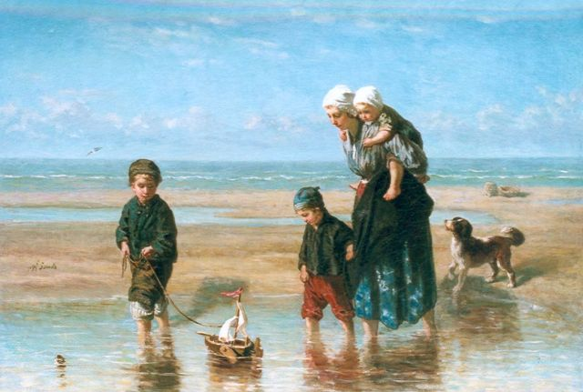 Jozef Israëls | Playing in the surf, oil on canvas, 91.5 x 132.1 cm, signed m.l. and painted circa 1863