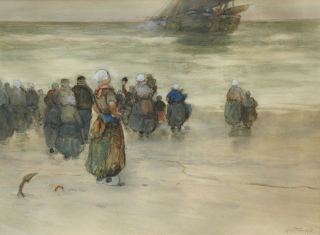 Charles Paul Gruppe | The departure of the fleet, watercolour on paper, 43.0 x 57.5 cm, signed l.r.