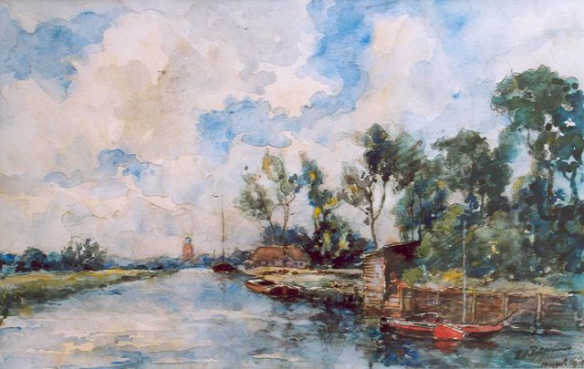 'Hugo' Nicolaas Polderman | A canal, Drenthe, watercolour on paper, 22.5 x 35.5 cm, signed l.r. and dated Meppel 1926