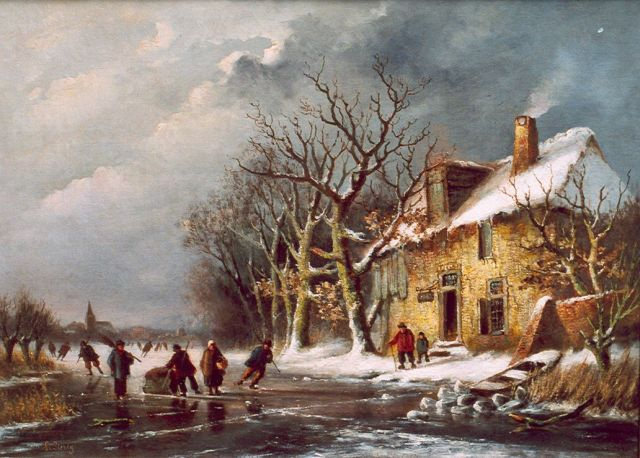 Louis Sierich | Skaters on a frozen river, oil on canvas, 45.3 x 63.0 cm, signed l.l.
