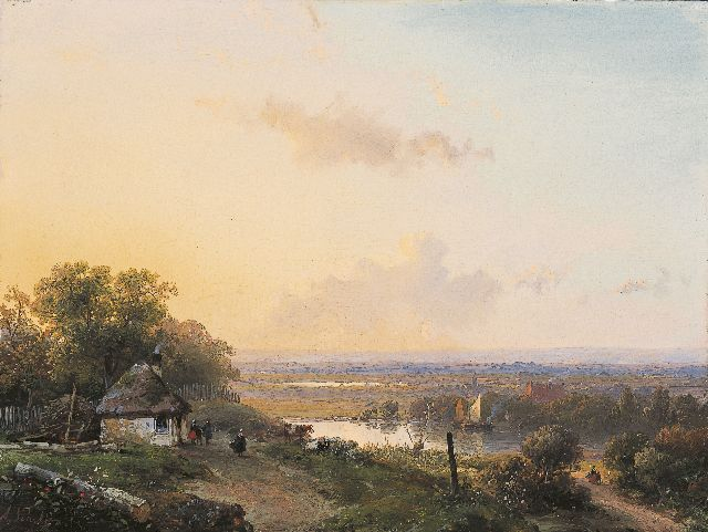 Andreas Schelfhout | Figures on a path in a panoramic landscape, oil on panel, 19.0 x 25.5 cm, signed l.l. and painted circa 1850