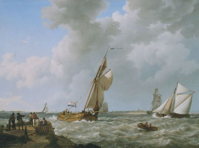 Johannes Hermanus Koekkoek | Sailing vessels in a stiff breeze, Zeeland, oil on canvas, 54.0 x 73.4 cm, signed l.l. and dated 1833