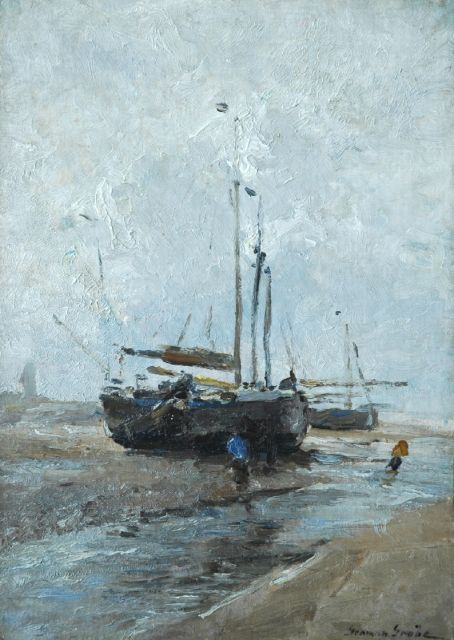 German Grobe | 'Bomschuit' on the beach, oil on canvas laid down on painter's board, 47.3 x 34.0 cm, signed l.r.