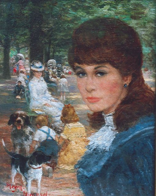 Rolf Dieter Meyer-Wiegand | An elegant company in a park, oil on panel, 18.0 x 14.1 cm, signed l.l.