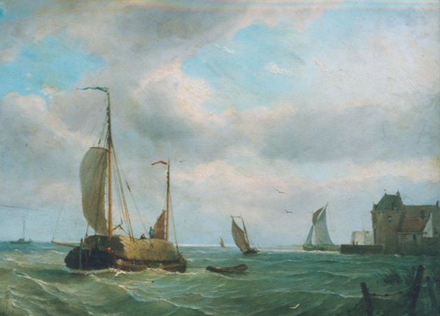 Petrus Paulus Schiedges | A haybarge near the coast, oil on panel, 39.2 x 52.4 cm, signed l.l. and dated '64