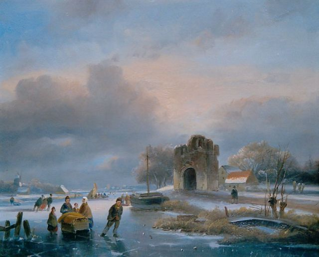 Johannes Petrus van Velzen | Skaters on a frozen waterway near a ruin, oil on panel, 20.6 x 25.5 cm, signed l.r.