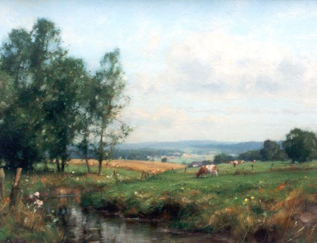Jan Holtrup | Landscape with cattle, Limburg, oil on canvas, 35.0 x 45.0 cm, signed l.l.