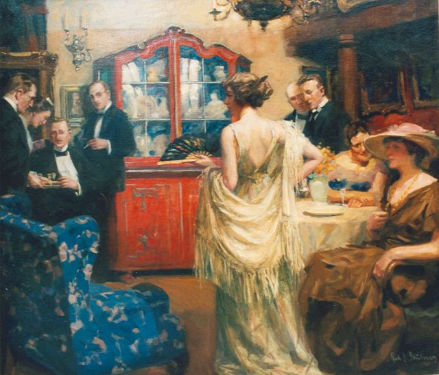 Robert Emil Stübner | Cocktail Party, oil on canvas, 120.0 x 140.0 cm, signed l.r.