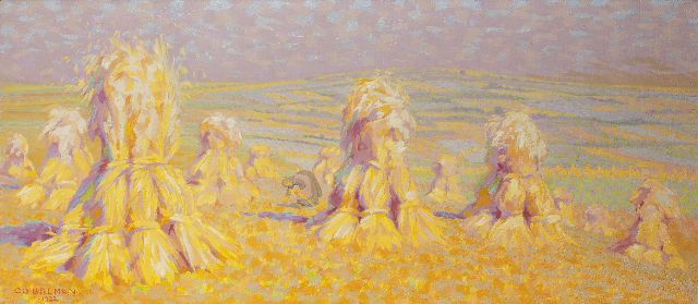Co Breman | Hay-cocks, Blaricum, oil on canvas, 71.5 x 150.6 cm, signed l.l. and on the reverse and dated 1922