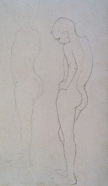 Jan Mankes | A study of a male nude, pencil on paper, 26.4 x 17.0 cm