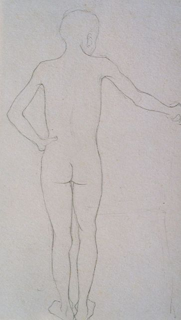 Jan Mankes | A study of a male nude, pencil on paper, 24.9 x 18.5 cm