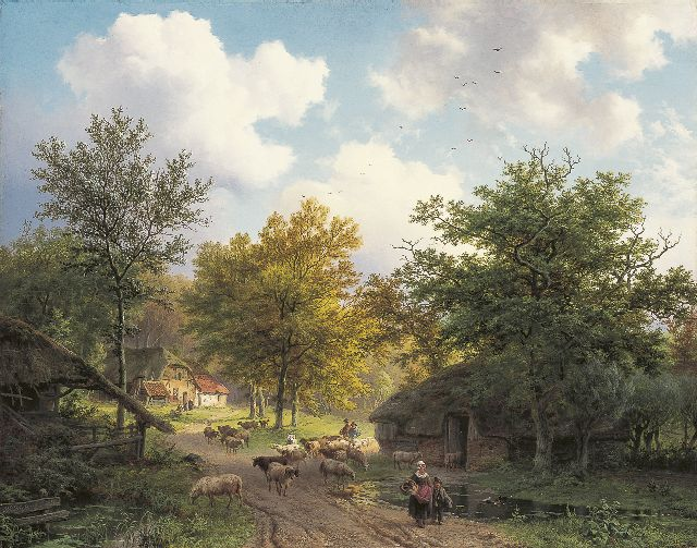 Barend Cornelis Koekkoek | A shepherd and his flock in a wooded landscape, oil on panel, 39.5 x 50.0 cm, signed l.l. and dated 1851