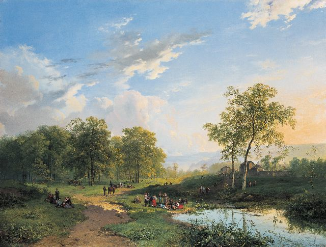 Barend Cornelis Koekkoek | An elegant company in a river landscape, oil on canvas, 56.3 x 74.0 cm, signed l.r. and dated 1831
