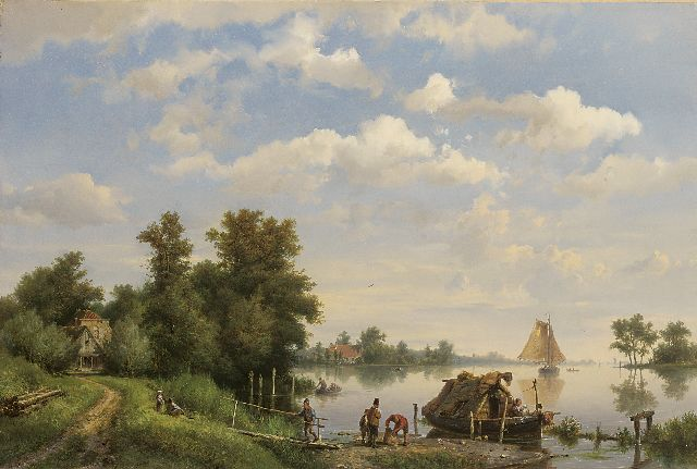 Hermanus Koekkoek | A calm river with ships and a moored houseboat, oil on canvas, 38.4 x 56.8 cm, signed l.l. and dated 1863