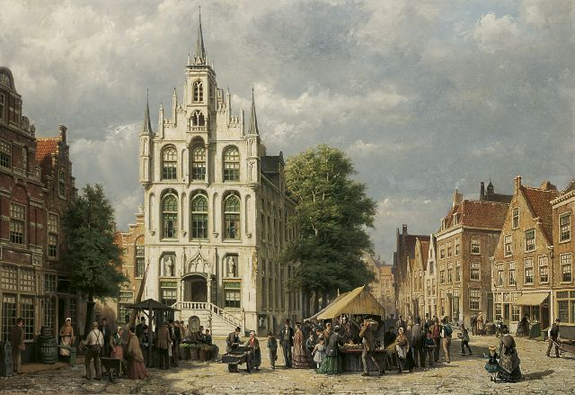 Willem Koekkoek | A view of the Raadhuis, Gouda, oil on canvas, 77.5 x 113.0 cm, signed l.l.