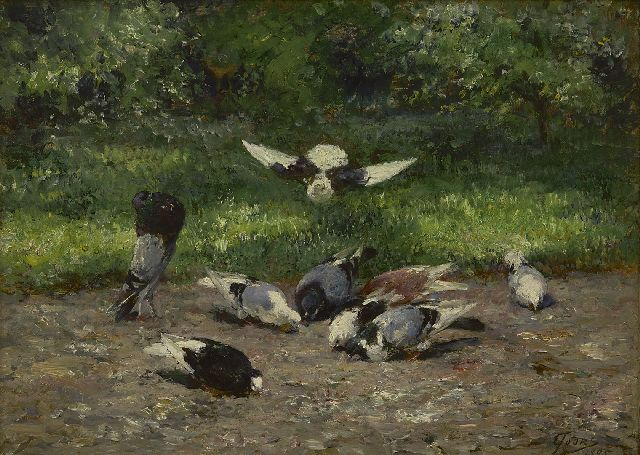 Eugeen Joors | Pigeons in the park, oil on panel, 24.0 x 32.5 cm, signed l.r. and dated 1895