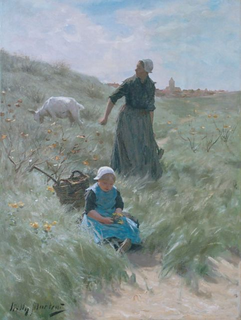 Willy Martens | Mother and child in the dunes, oil on canvas, 75.0 x 56.0 cm, signed l.l.