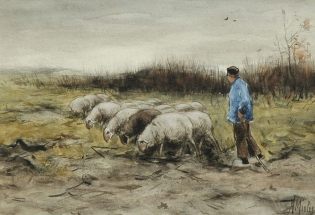 Adriaan Miolée | A shepherd with his flock of sheep, watercolour on paper, 21.5 x 31.0 cm, signed l.r.