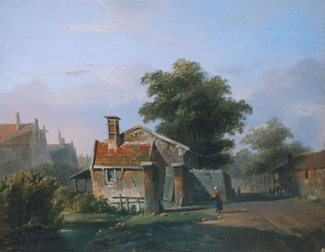 Adrianus Eversen | A view of a town, oil on panel, 21.9 x 28.2 cm