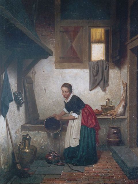 Grips C.J.  | An Kitchen Interior, oil on panel 27.3 x 21.0 cm, signed l.r. and dated 1865