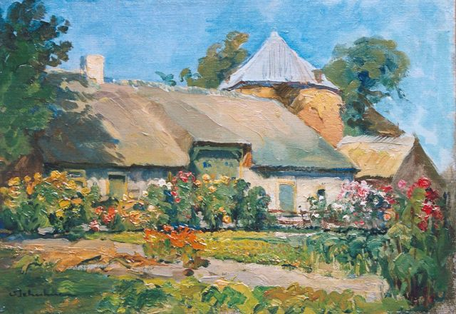 David Schulman | A farm in summer, 'het Gooi', oil on canvas, 26.1 x 36.9 cm, signed l.l.