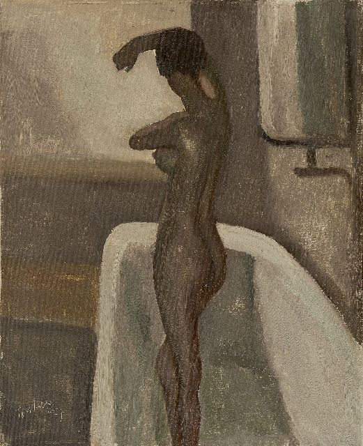 Kelder A.B.  | Female nude standing in the bathtub, oil on canvas 56.0 x 46.3 cm, signed l.l. and dated '27