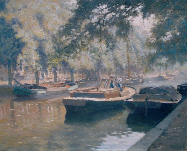 Anthonie Pieter Schotel | Canal with moored boats, oil on canvas, 40.1 x 50.3 cm, signed l.r.