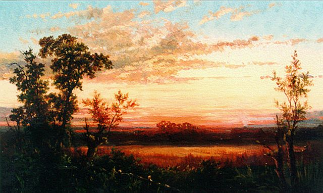 Paul Joseph Constantin Gabriel | Evening twilight, oil on panel, 18.8 x 27.1 cm, signed l.r. and dated 1855