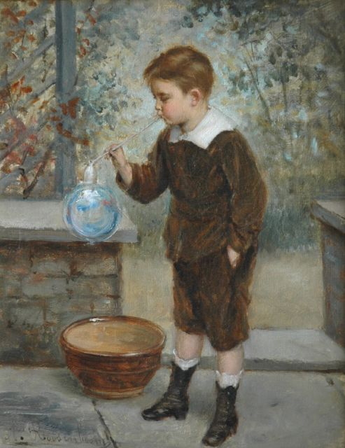 Albert Roosenboom | Blowing bubbles, oil on canvas, 24.2 x 19.2 cm, signed l.l.