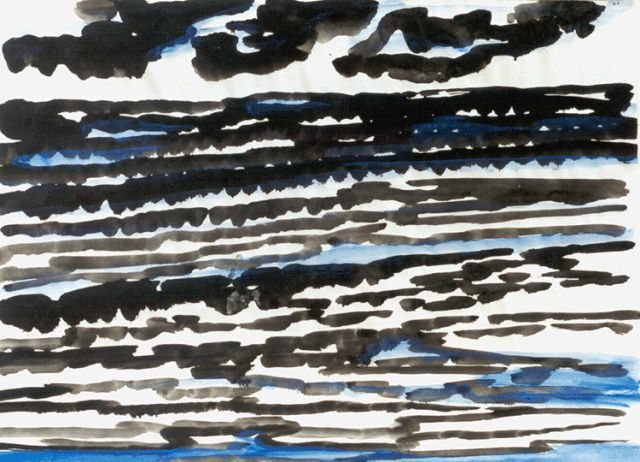 Gerrit Benner | Sea and clouds, gouache on paper, 51.0 x 66.0 cm, signed l.r. and painted circa 1951
